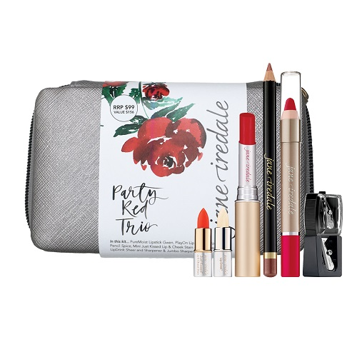 Christmas treats - Jane Iredale makeup kit - party red trio